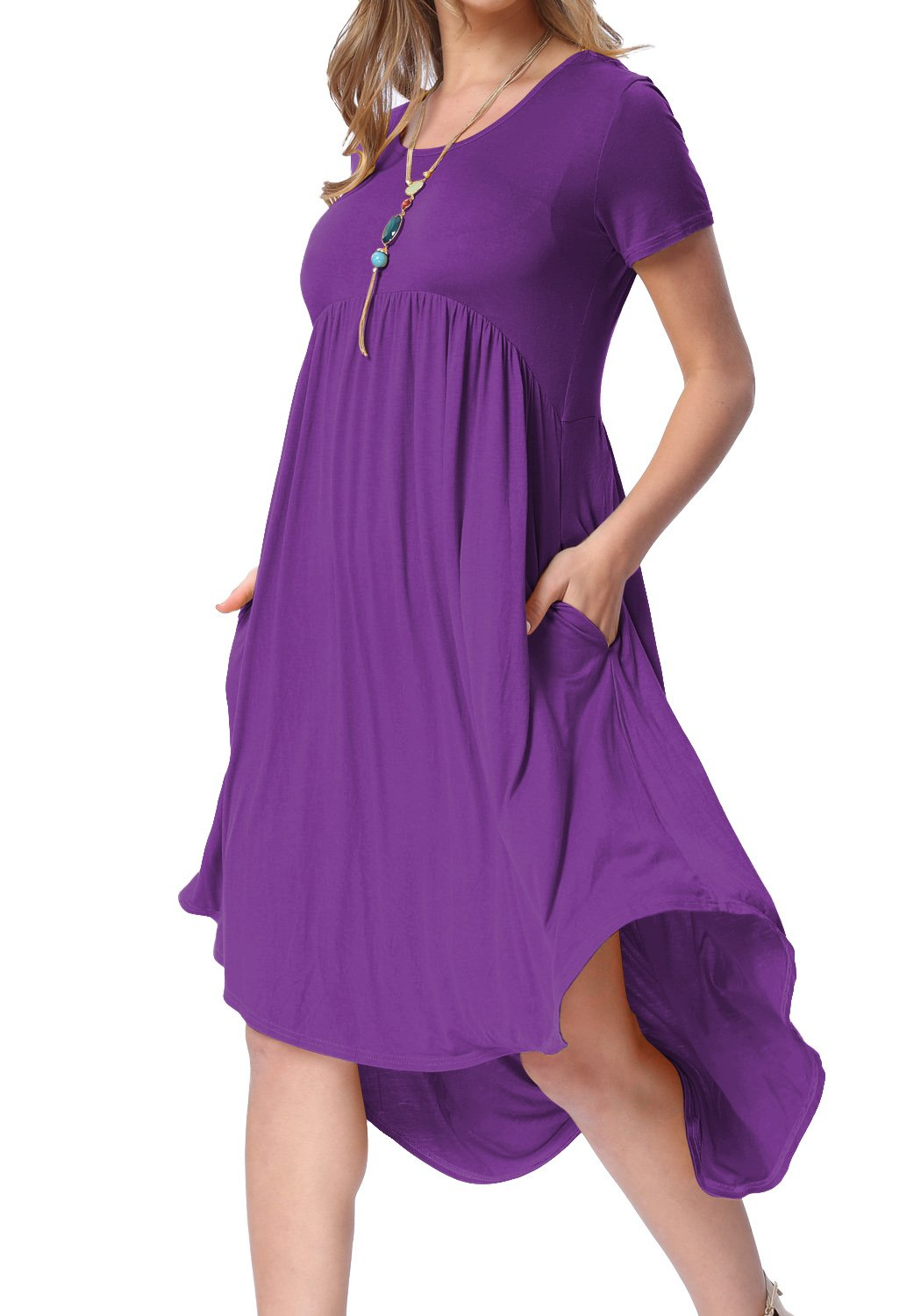 levaca Womens Summer Plain Short Sleeve Scoop Neck Casual Flared Party Dress Purple S