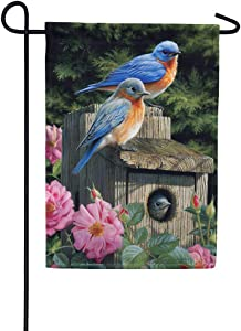 Custom Decor Bluebird House - Garden Size, Decorative Double Sided, Licensed and Copyrighted Flag - Printed in The USA Inc. - 12 Inch X 18 Inch Approx. Size