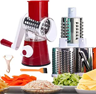 Rotary Cheese Grater Grinder Mandoline Slicer 3-in-1 Vegetable Slicer Shredder Grater for Potato Onion Cucumber Carrot Red
