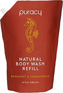 product image for Puracy Body Wash Refill, Bergamot & Sandalwood, 64 Ounce, 99.3% Natural Bath Gel for All Skin Types
