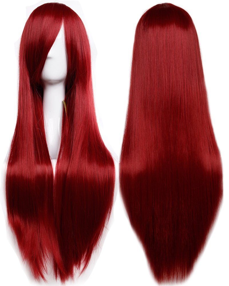 S-noilite 32'' (80cm) New Fashion Long Straight Wine Red Full Hair Wig Heat Resistant Lady Cosplay Anime Daily Party Dress Women Wigs