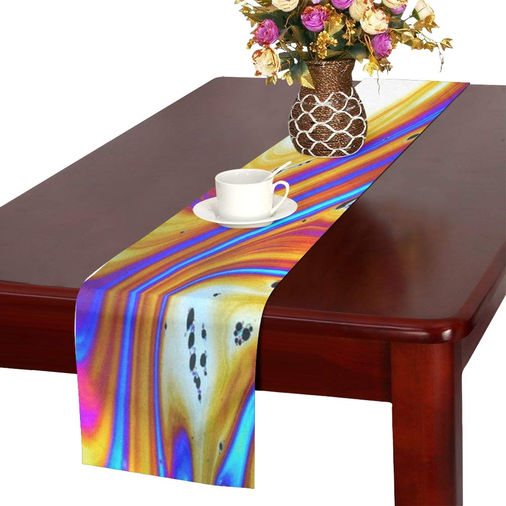 Jnseff Soap Bubble Color Colorful Iridescent Fabenfroh Table Runner, Kitchen Dining Table Runner 16 X 72 Inch For Dinner Parties, Events, Decor