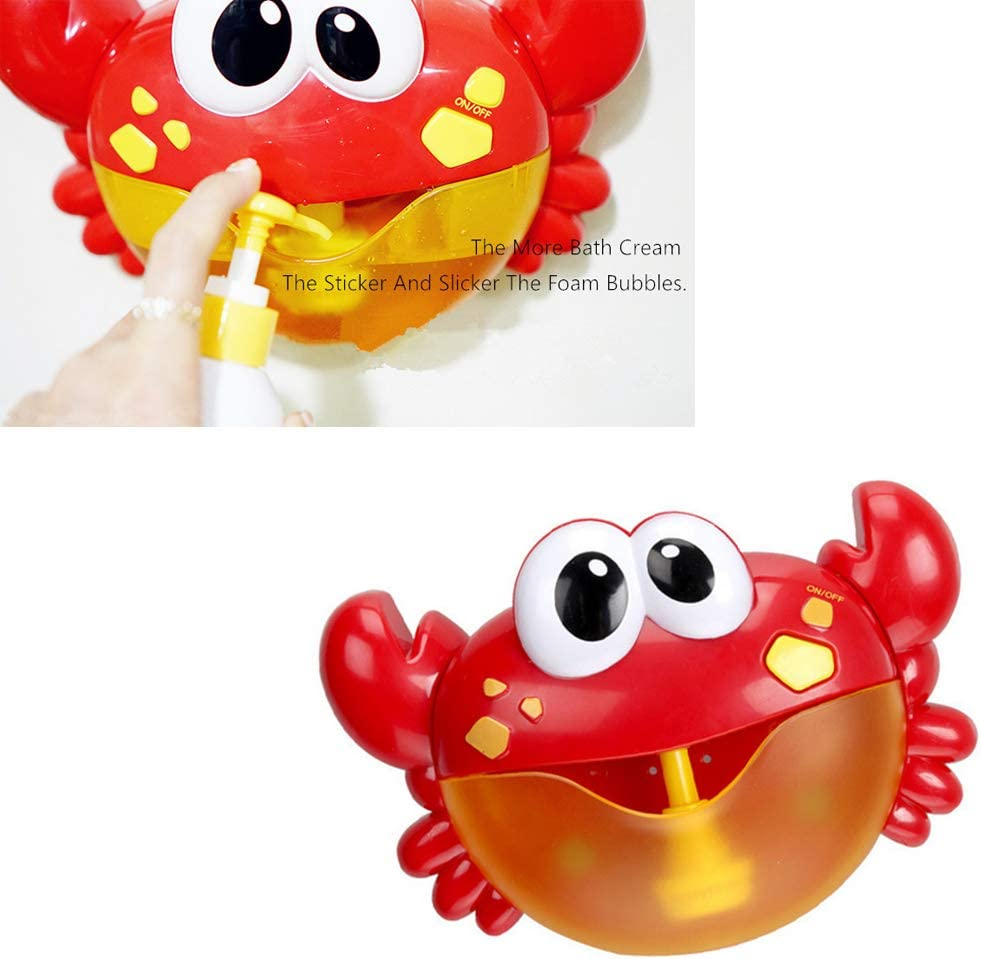 Bath Bubble Maker Crab Automatic Bubble Blower Machine Battery Operated Crab Baby Bath Toy Nursery Rhymes Toddler Kids All Ages