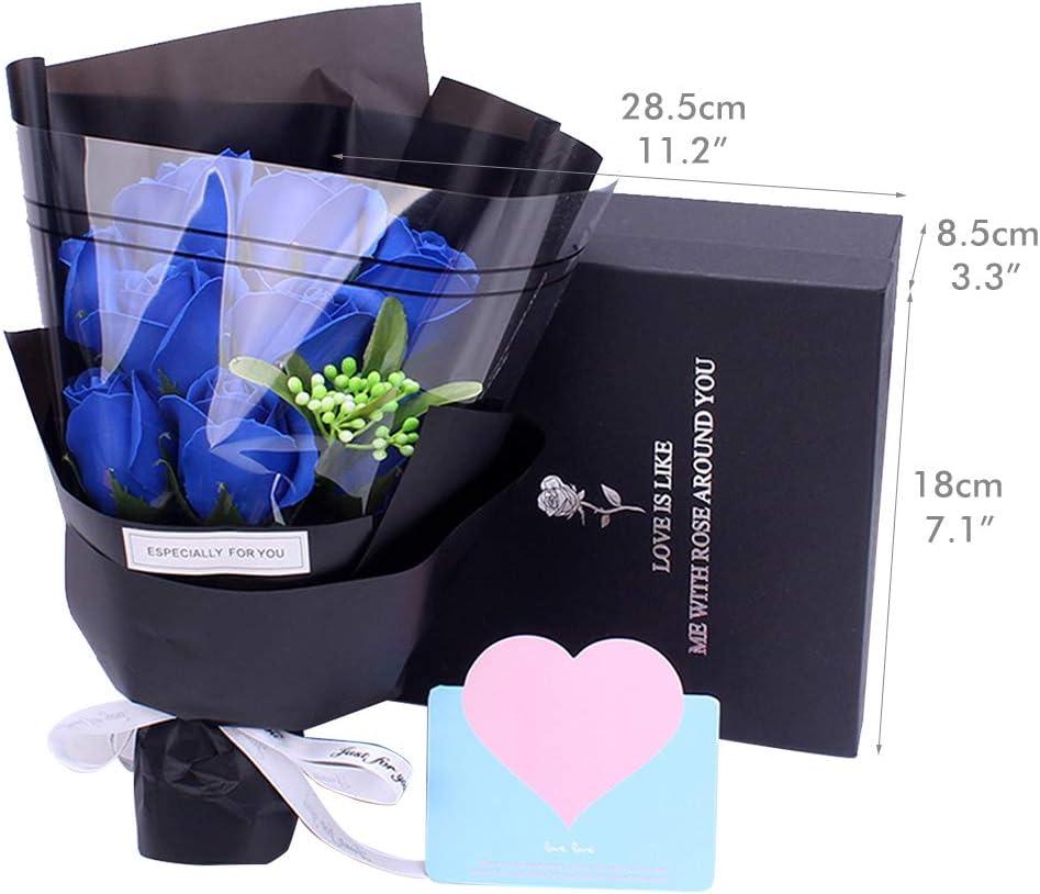 San Valentine Compleanno Regalo per Anniversario Matrimonio Amycute Fiori di Sapone Bouquet Artificiale Rose Bouquet Floreale Handmade Sapone Blu