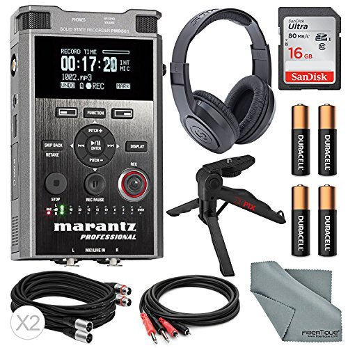 Marantz Professional PMD561 Professional Portable Audio Recorder with Headphones + 16GB + XPIX table Top Tripod and FiberTique Cloth [並行輸入品] B078HXHBXZ