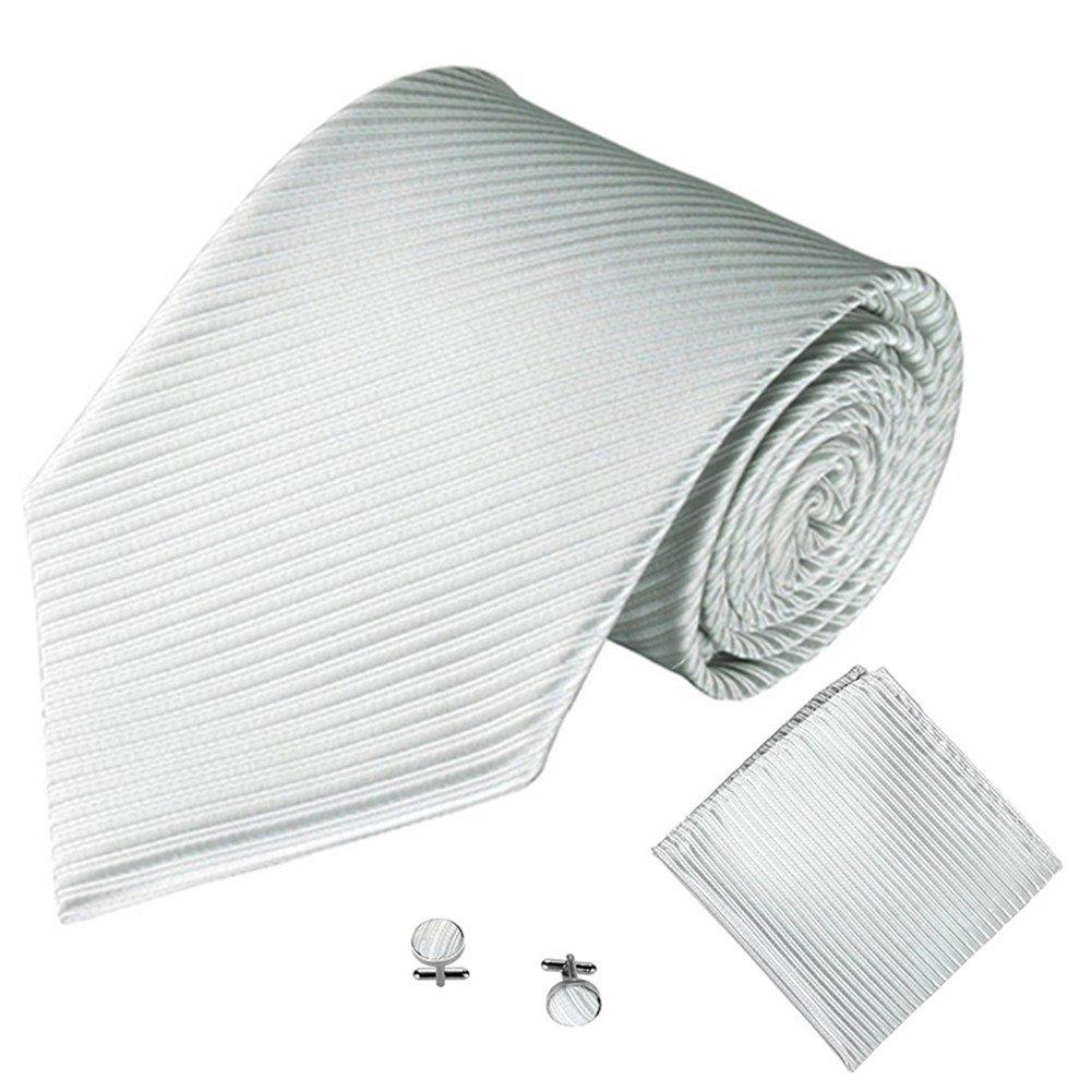 Business Tie-Burgundy TOPTIE Striped Woven Necktie Handkerchief Cufflinks Set For Men