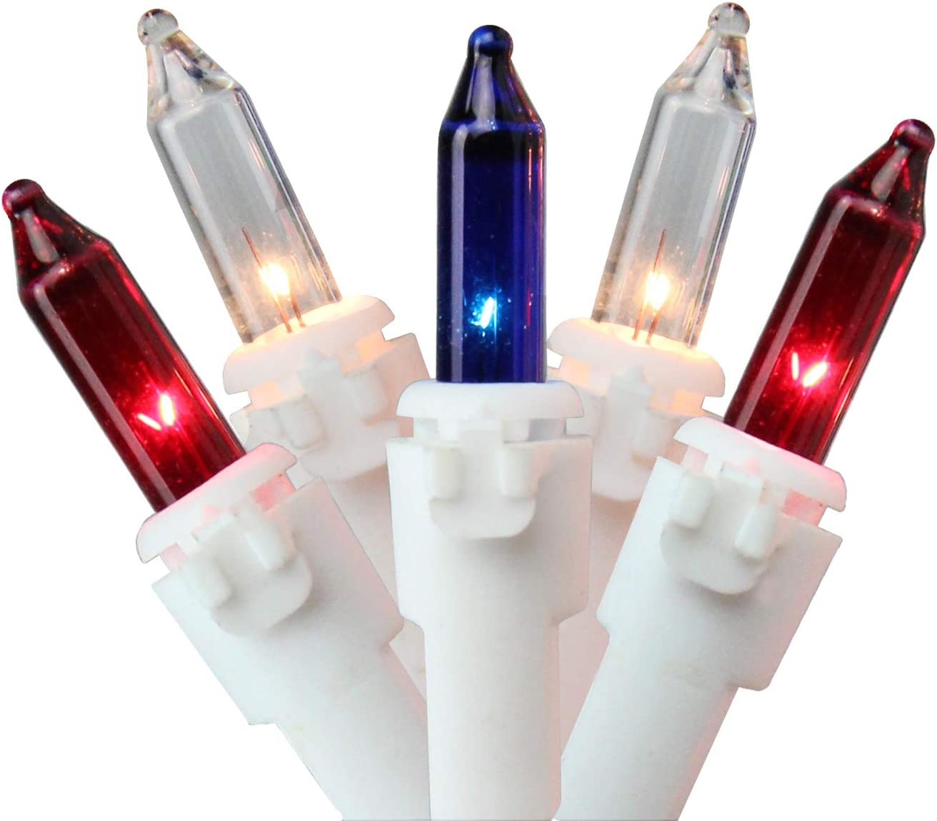 32.75ft White Wire w 100-Count Red White Blue 4th of July LED Mini Light Set