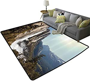 Apartment Decor Rustic Area Rugs Yosemite Falls Mountain Sunshine Alpine Trees Dramatic Natural Wilderness Landscape Scene Single-Sided Printing Green, 3'x 5'(90x150cm)