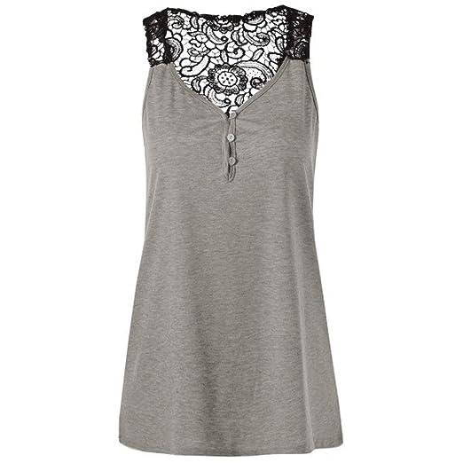 a5ce73fa9b3 Dainzuy Women s Tank Tops Plus Size Sleeveless Lace Patchwork Backless  Button Blouse Top Shirt Crop Tank
