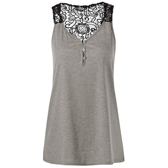 Damen Ärmellos Tops Chiffon Spitze Shirt Oberteil Top Locker Bluse Mode Sommer J