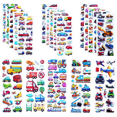 Construction Trucks Stickers - Kids Cars and Trucks Stickers Party Supplies Pack 500+, 20 Different Sheets, Transportation Stickers for Kids & Toddlers with Cars, Fire Trucks, Construction, Buses, Airplane,Spaceship,Rocket and More
