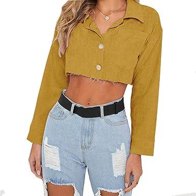 5ALL Damen Mantel Sexy Kurz Jeansjacke Lange Ärmel Leicht Coat Einfarbig  Strickjacke Revers Jacke Fashion Herbst 05b5fd1723