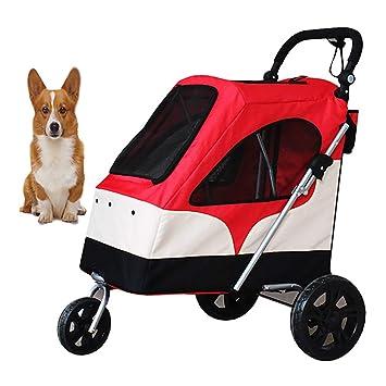 DJLOOKK Carrito para Mascotas Carrito para Perros Extra Grande para Mascotas con Ventana Superior Adecuado para 15-55 Kg (Rojo): Amazon.es: Deportes y aire ...
