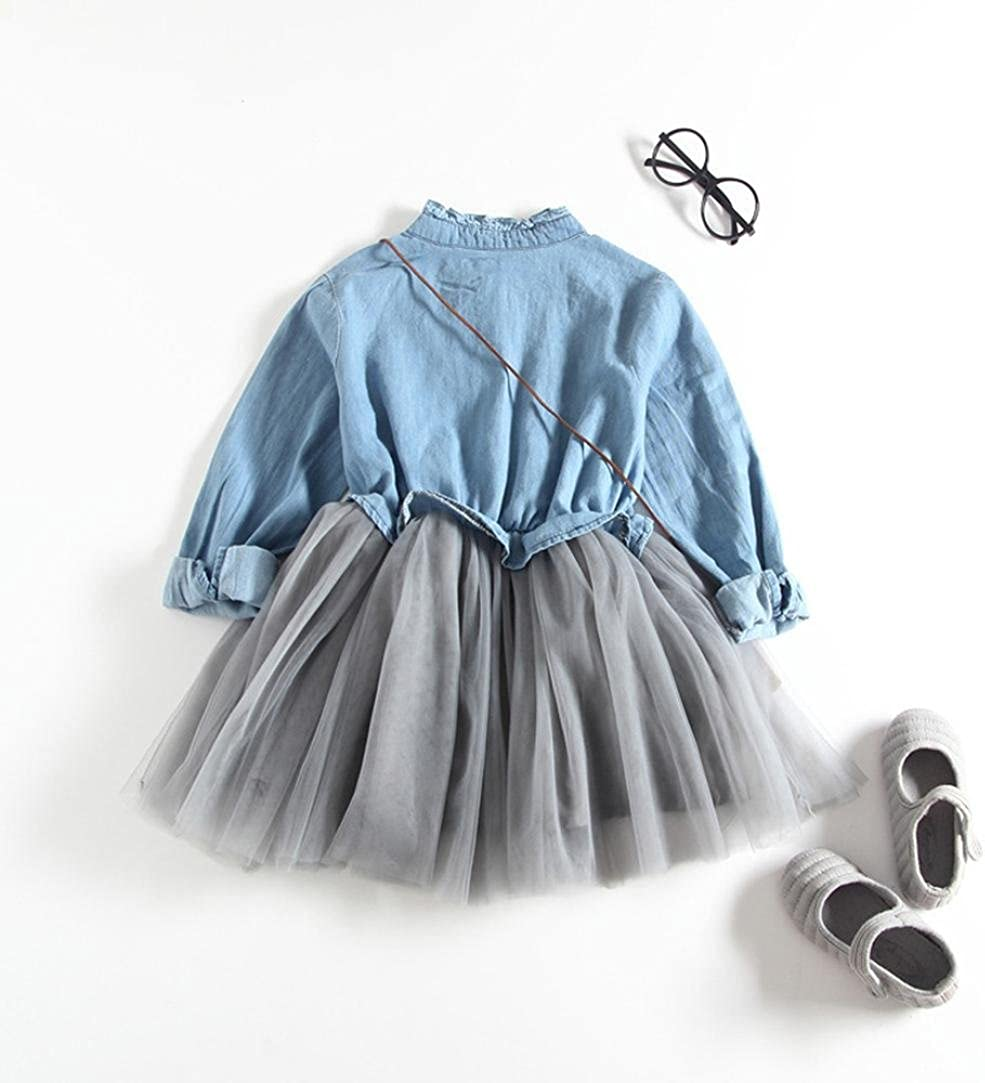 Dinlong Baby Girls Summer Long Sleeve Denim Princess Tutu Dress Cowboy Clothes
