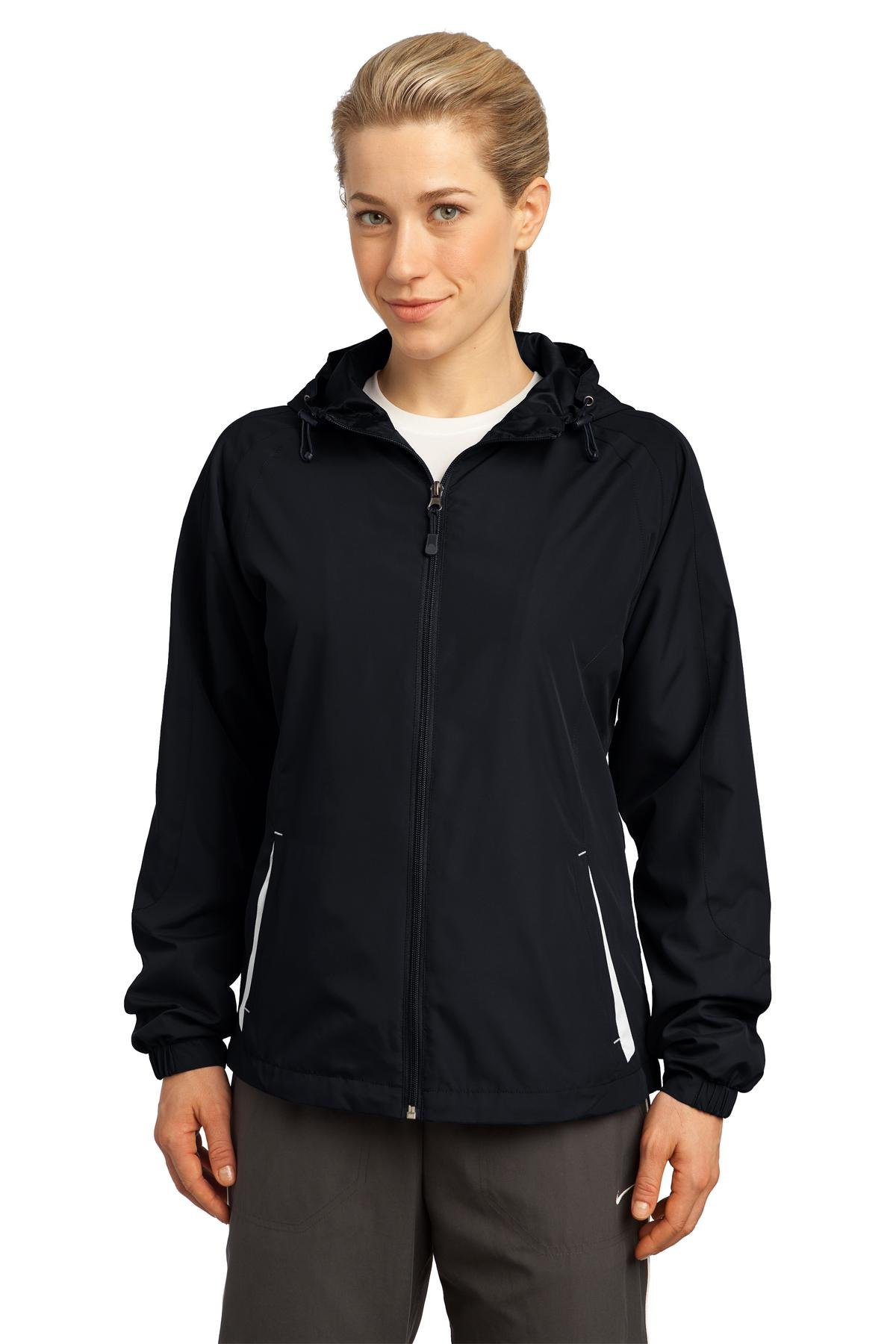 Sport-Tek Women's Colorblock Hooded Raglan Jacket 4XL Black/White