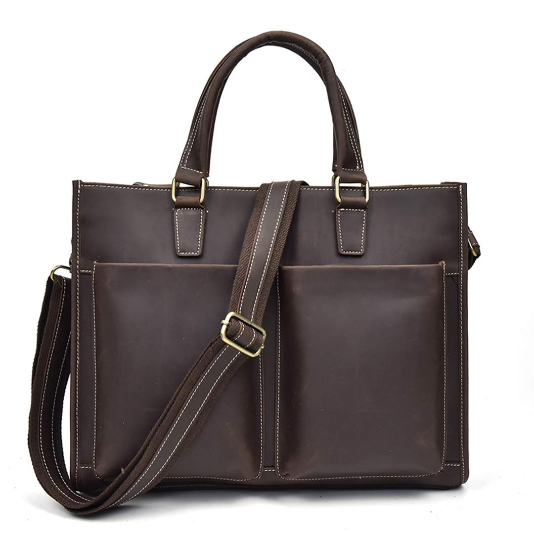 Vintage Men Crazy Horse Leather Business Bag Cow Leather Male Laptop Bag Multifunctional Work Tote Briefcase yellow brown