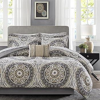 9 piece light grey medallion comforter king set beautiful all over bohemian boho. Black Bedroom Furniture Sets. Home Design Ideas