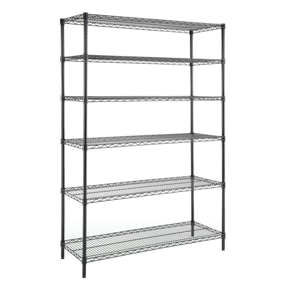 HDX Deco Shelf Steel 6-Tier in Black | 48 in. W x 18 in. D x 72 in. H by HDX Product