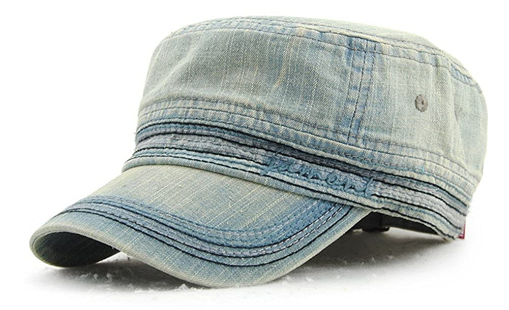 Roffatide Unisex Cotton Flat Top Hat Classical Military Hat LT5013-1