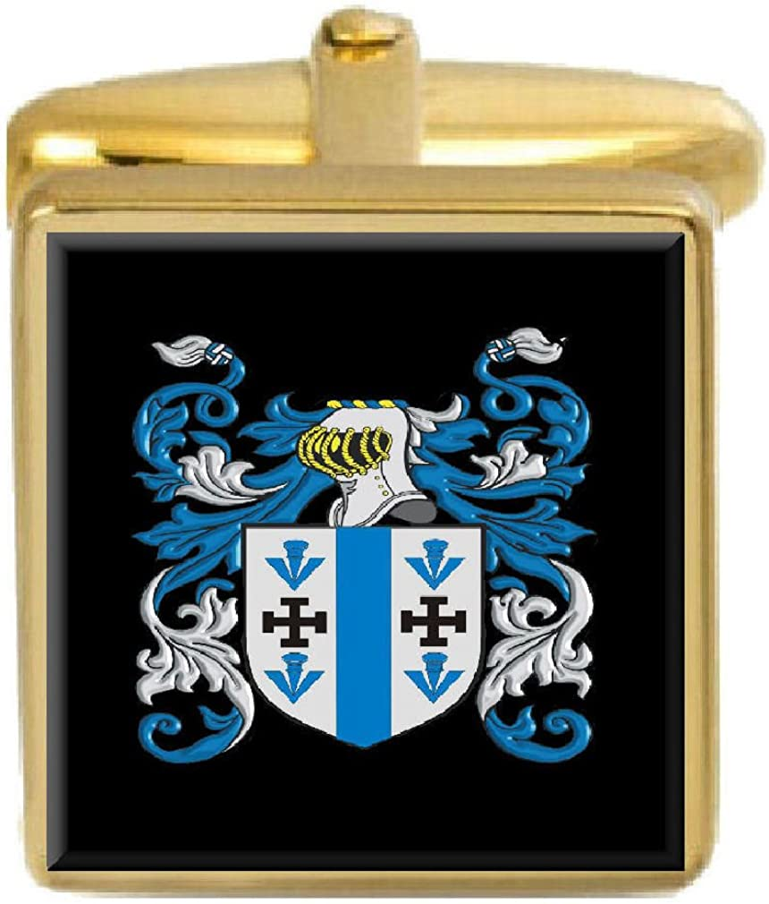 Select Gifts Macglennon Ireland Family Crest Surname Coat Of Arms Gold Cufflinks Engraved Box