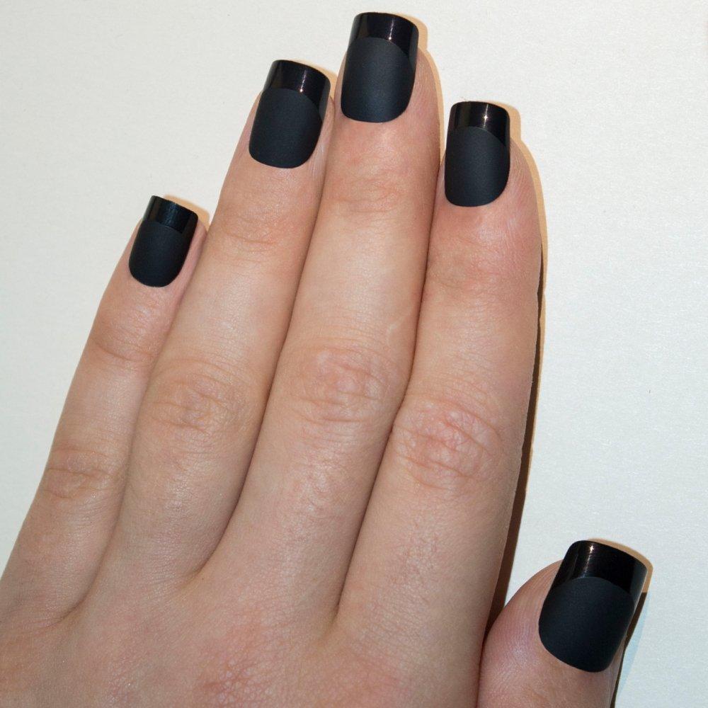 Bling Art False Nails French Manicure Matte Black Full Cover Medium ...