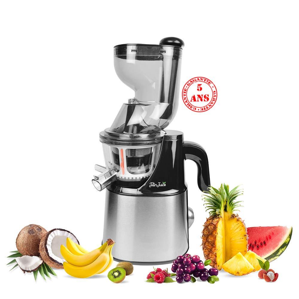Saldos FitinJuice-Extractor de jugo de gama alta, 5 años de garantía silencioso 45 minuto rpm, color aluminio cepillado-fruto entero: Amazon.es: Hogar