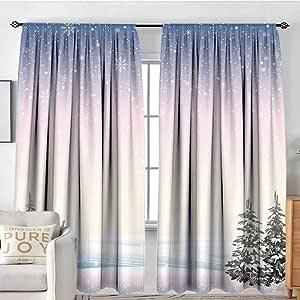Amazon Com Muyindo Winter 3d Printed Pattern Curtain