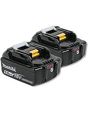 Makita 2BL1850 BL1850 18v 5.0Ah Li-ion LXT Battery Pack of 2, 18 V, Black, Small, Set of 2 Pieces