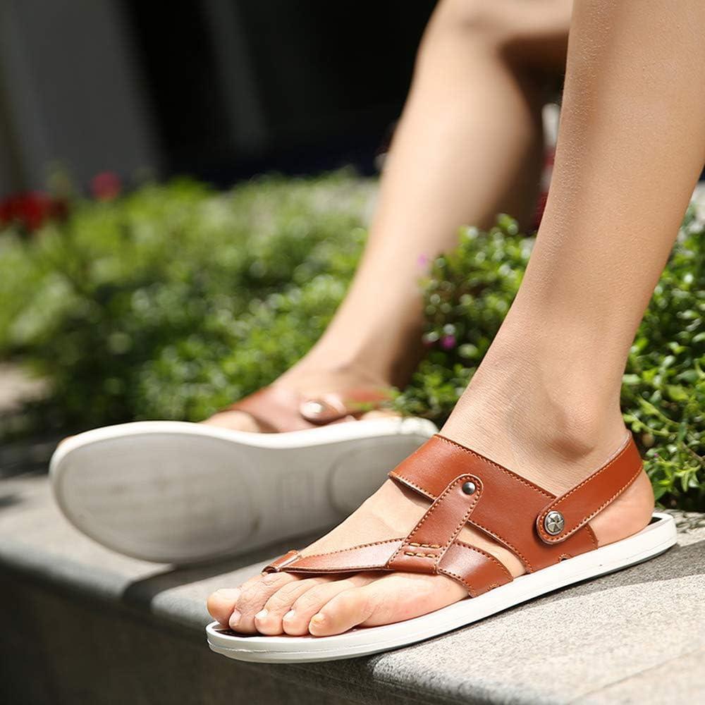 Elibone Mens Summer Sandals Leather Men Slippers Casual Sandals Flats Two-Wear Soft Men Footwears,Brown,7.5