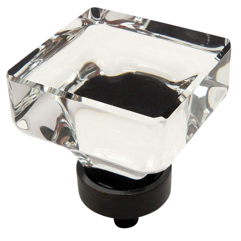 "10 Pack - Cosmas 6377ORB-C Oil Rubbed Bronze Cabinet Hardware Square Knob with Clear Glass - 1-3/8"" Square"