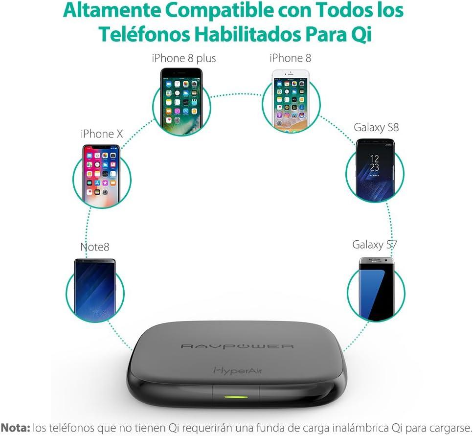 RAVPOWER Cargador Inalámbrico de 7.5W de Carga Rápida Base de Carga Inalámbrica de 10W Compatible con Galaxy S8/ S8 +/S7/ S7 Edge y Todos los Dispositivos Habilitados: Amazon.es: Electrónica