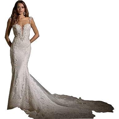 16b4e56b8b2ff Amazon.com: Chady Glamorous Spaghetti Straps Lace Mermaid Wedding Dresses  Open Back Applique Beading Bridal Gowns for Weddings: Clothing