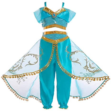 JK Disfraz de Princesa Jasmine con Lentejuelas para niñas, Vestido de Princesa Aladdin Jasmine para Fiesta de Halloween para niños, 110