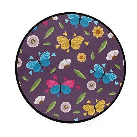 Alfombra redonda con diseño de mariposas moradas ...