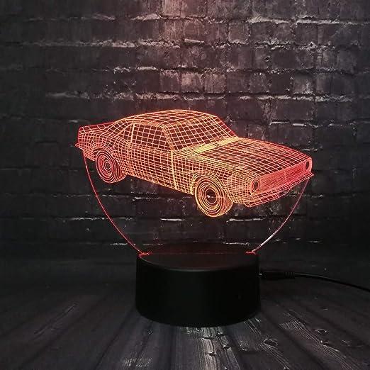 Mddjj Venta Caliente Cuba Retro Animación Cool Car 3D Usb Lámpara Led Car-Styling Colorido Cool Boy Regalo Juguetes Rgb Luz De La Noche Decoración De La Mesa Luz De Dormitorio: Amazon.es: Iluminación