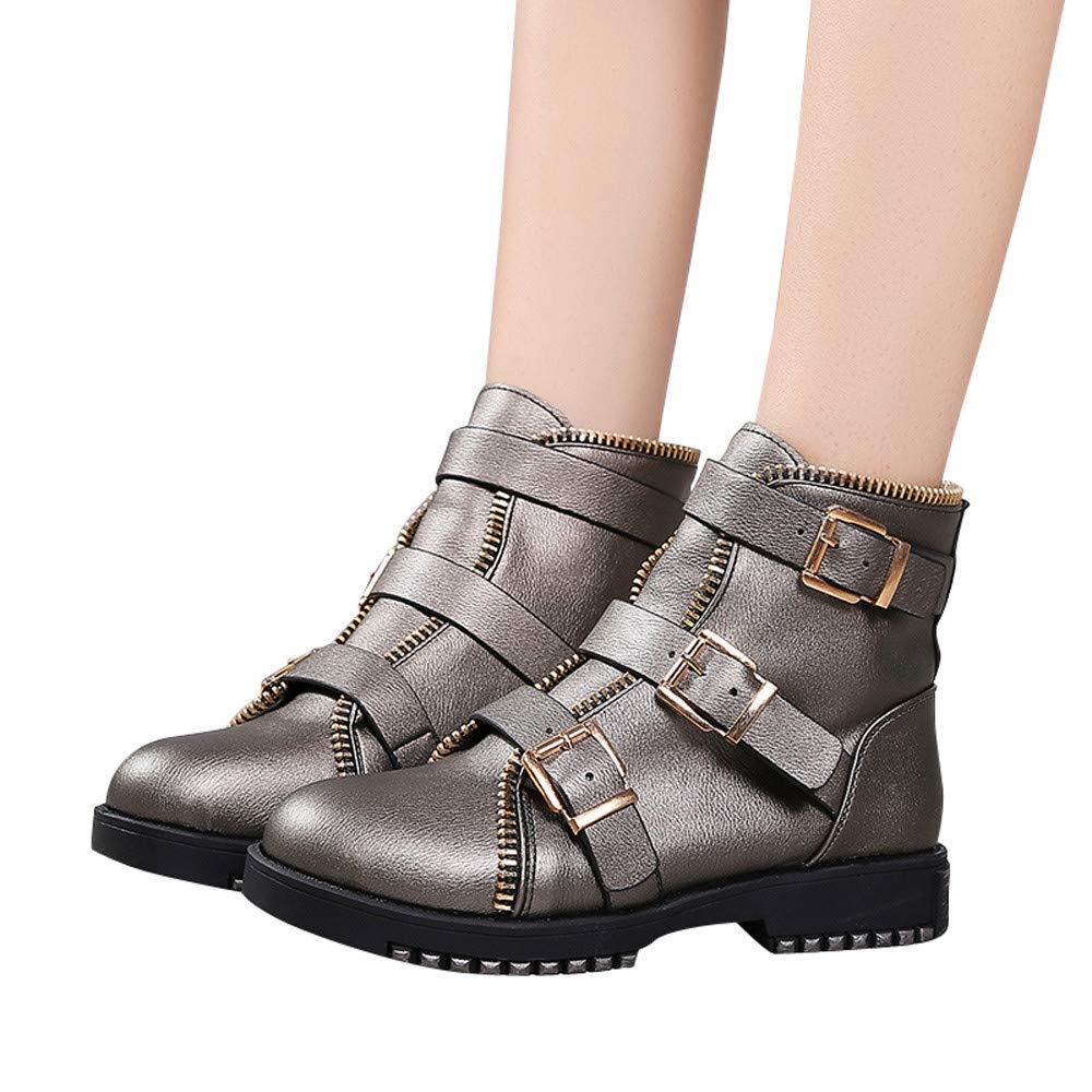 JiaMeng Botas Bota de Goma Mujer de la Hebilla Plana de la Punta Redonda del Vintage Zapatos Casuales de Martin de Cuero: Amazon.es: Ropa y accesorios
