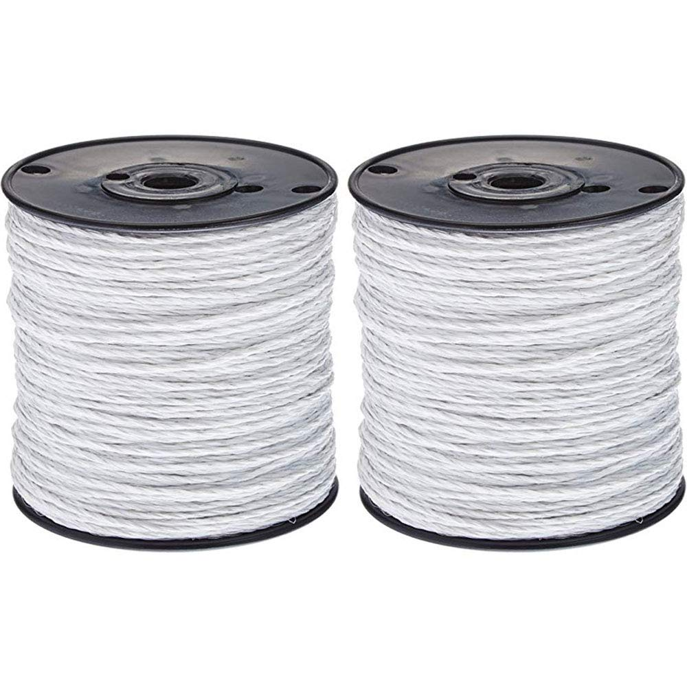 1650'' Electric Fence Polywire 6 Strand Stainless - White (2 Pack) by FenceGard