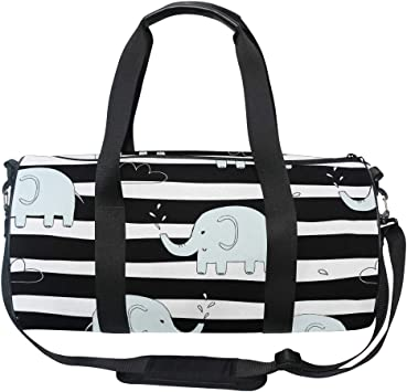 Travel Duffels Stripe Elephant Duffle Bag Luggage Sports Gym for Women /& Men