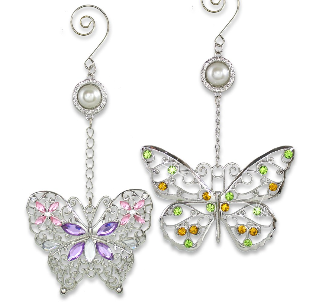 BANBERRY DESIGNS Butterfly Christmas Ornaments - Set of 2 Colorful Rhinestone and Silver Filigree Ornaments - Butterfly Decorations - Hanging Butterflies - Butterfly Decor