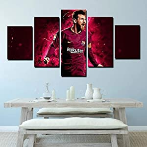 Wall Art Framed Frameless Sports Wall Decor Poster for Living Room Bedroom Home Decor Hall Fc Barcelona Forward Flea Lionel Messi 5 Piece Canvas Wall Pictures