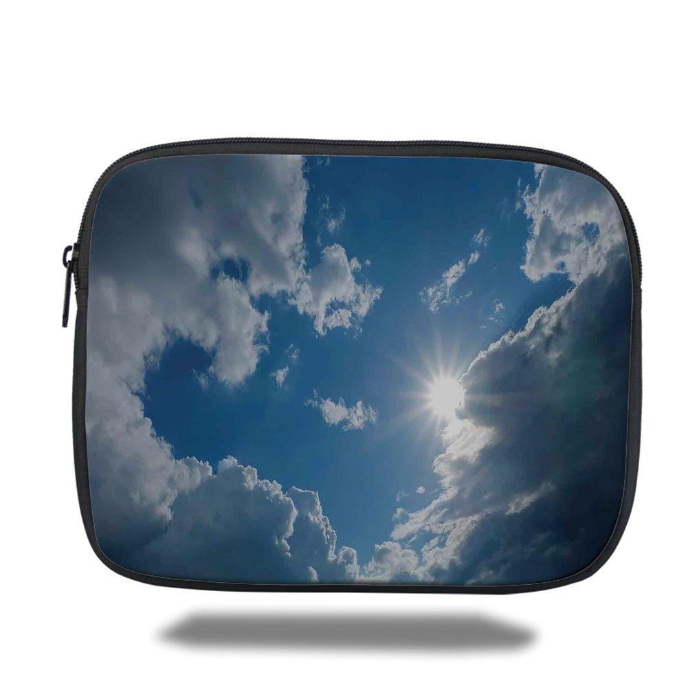 Laptop Sleeve Case,Sky Decor,Clear Weather Sky Sun On Sky With Clouds Solar of Clean Energy Power Artwork,Gray Blue,iPad Bag