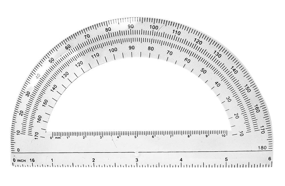 Classroom Set of 30 School Math Student Protractor 180 Degree 6 Inch Ruler Clear Plastic, w/ 1 Pencil Hole/Pivot Point by OnlineScienceMall (Image #1)