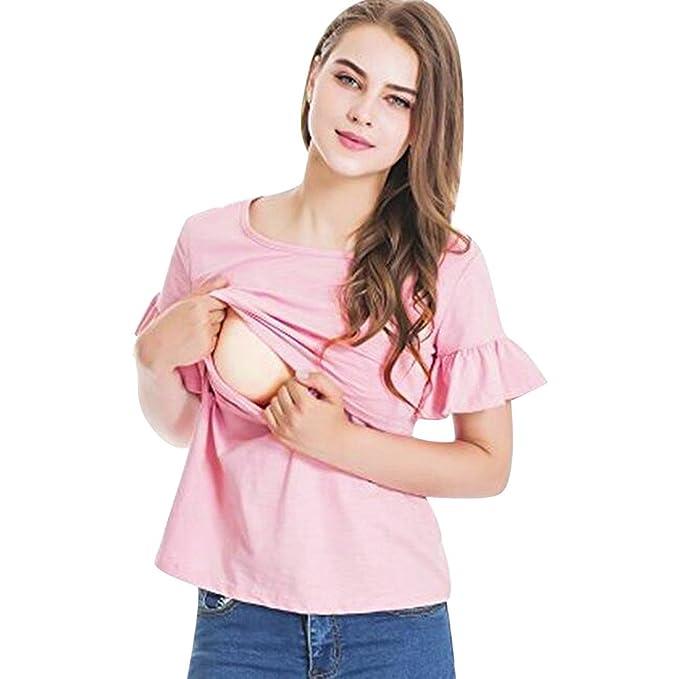 ... Lactancia Enfermeria Tops Blusa De Doble Capa De Mangas Madre Camiseta De EnfermeríA De Maternidad Blusa Ligera Naturazy: Amazon.es: Ropa y accesorios