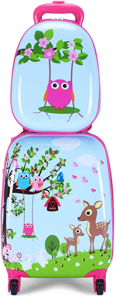"""GYMAX Kids Carry On Luggage Set, 12"""" & 16"""" 2PCS Toddler Suitcase"""