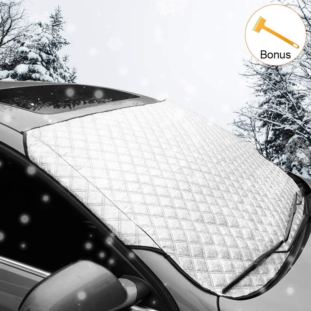 Tomatu Autoscheibenabdeckung Mit Gratis Mini Schneeschaufel,Frontscheibenabdeckung Frostabdeckung gegen UV-Strahlung Schnee EIS Frost und Sonne 162CM Gr/ö/ße 157