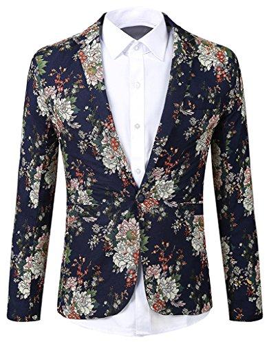 REYUY Mens Fashion Floral Notched Lapel Slim Fit Suit Blazer Jacket Blue