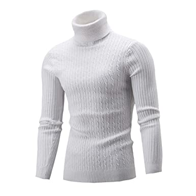 89c3c4888f32 iHENGH Hiver Hommes Mince Tricot Chaud Pull col Haut Pull Pull col roulé Top