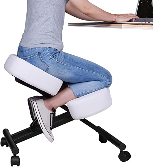 Ergonomic Kneeling Chair with Back Support Improve Your Posture with an Angled Seat Gray Adjustable Stool for Home and Office Thick Comfortable Cushions