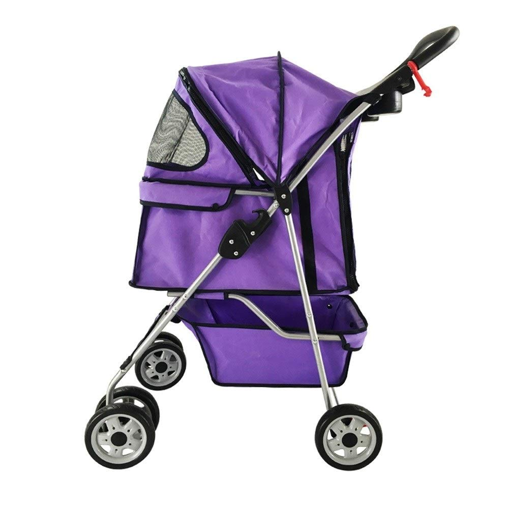 Purple RYAN Dog Pushchair, Stroller Pram Carrier Travel Transport Folding Pet Cat Trolley 3 4 Wheel Trailer For Small Disabled Elderly Cart (color   Pink3 wheels)