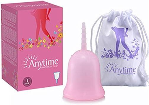 ANYTIME Copa de menstruación, 100% segura Silicona de grado médico/Copa menstrual reutilizable premium/Copa de menstruación recomendada Alternativa ...
